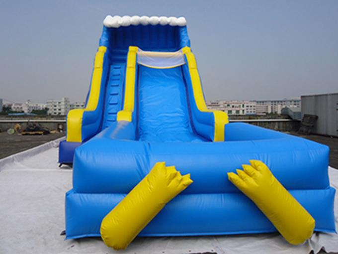 Giant Outdoor Yellow Inflatable Water slide With Pool