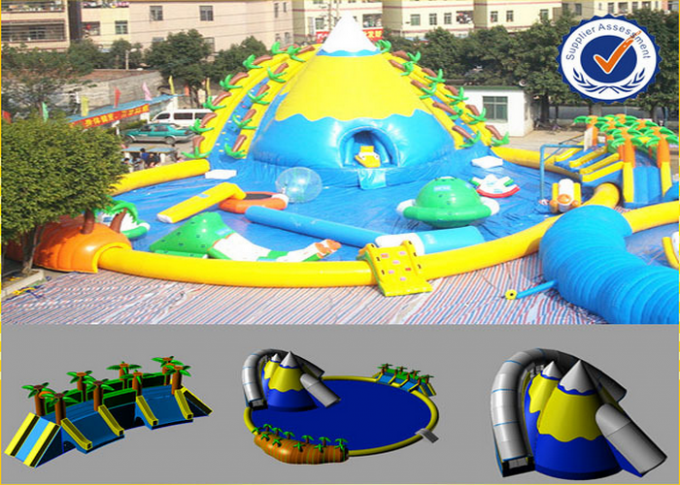 PVC Inflatable 30M Pool Inflatable Water Parks Huge Slide For Summer