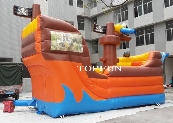 PVC Tarpaulin Kids Fun City Inflatable Bouncy Pirate Ship For Commercial Use