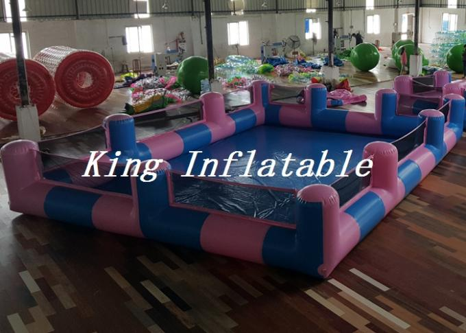 Custom 0.9mm PVC Pool Type Inflatable Swimming Pool With Blue And Pink , 12x8m