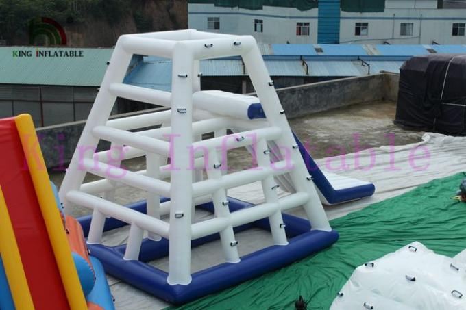 Custom 0.9mm PVC Blue / White Inflatable Water Toy /  CE Aqua Slides For Water Park