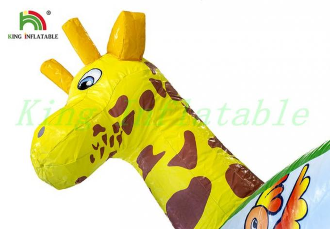 Colorful Wild Animal Inflatable Bouncy Tent Kids PVC Bouncer With Small Hill