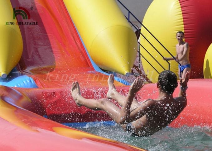 Combo Size PVC Blow Up Single Lane Water Slide Colorful Tube Handrails