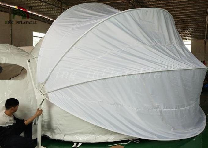 White Inflatable Tent For Hotel / PVC Tarpaulin Steel Frame Tent With Oxford Curtain