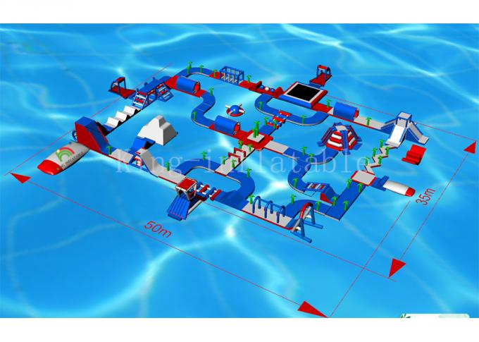 Adult Floating Play Aqua Fun Inflatable Water Parks / 145 Person Blow Up Water Obstacle Course