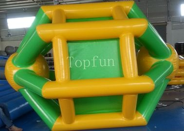 Yellow / Green 3 * 2.8m Inflatable Water Wheel For Adult / Kids Summer Use
