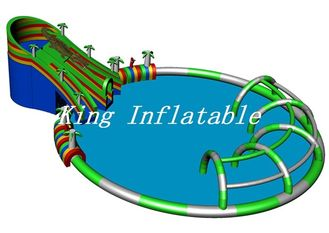 China Outdoor Giant Inflatable Water Park 30m Diameter Constant Blower With Crocodile Slide supplier