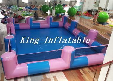 China Custom 0.9mm PVC Pool Type Inflatable Swimming Pool With Blue And Pink , 12x8m supplier