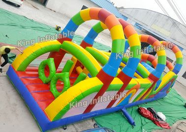 Good Quality Inflatable Water Parks & 12 m Colorful Rainbow Printed Inflatable Obstacle Games Passing Courses PVC on sale