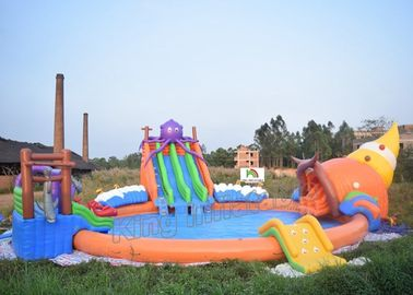 China Outdoor PVC Tarpaulin Inflatable Water Park Games On Land With 3 Slides supplier