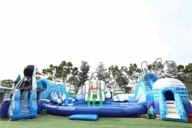 Adult Outdoor Inflatable Water Parks , Pool Obstacle Course Play Equipment
