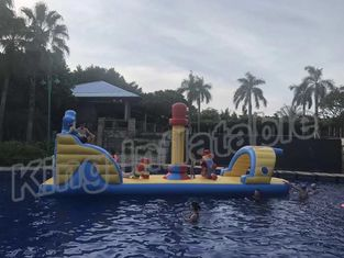 Commercial Floating Kids Inflatable Water Parks With Slide , Customized Color