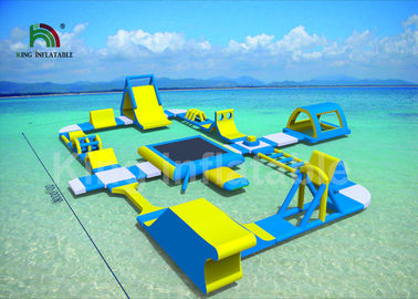 China Heat - Welding Giant Blue 30 * 25m Inflatable Water Parks For Adults And Kids supplier