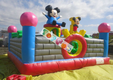 Lovely Mickey Kids Inflatable Amusement Park For Jumping Fun 0.45mm - 0.55mm PVC