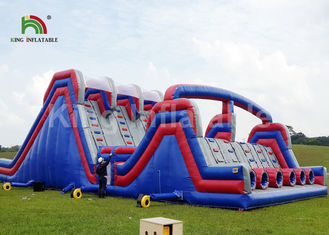 Blue 4 Lane Inflatable Sports Games / Military Blow Up Obstacle Course