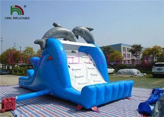 Blue White Dolphin PVC Inflatable Dry Slide With Board Slide And CE Blower