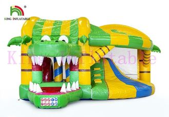 Green / Yellow 0.55mm PVC Commercial Bounce Houses And Slide With CE Approved