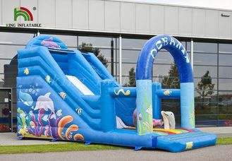 Durable PVC Inflatable Dry Slide Digital Printed Blue Oceanic With CE Blower