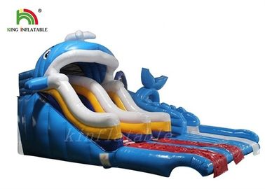 Good Quality Inflatable Water Parks & Blue One Lane Inflatable Water Slide With Bouncer For Water Park on sale