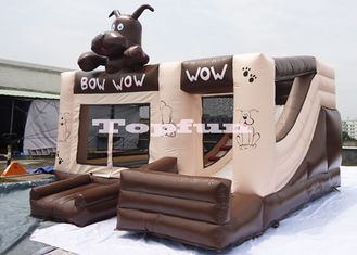 0.55mm PVC Tarpaulin Inflatable Chocolate Jumping Bouncer Castle With Slide