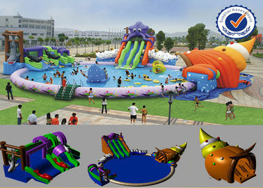 China PVC Inflatable 30M Pool Inflatable Water Parks Huge Slide For Summer supplier