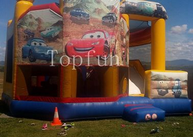 PVC Racing Car Inflatable Water Jumping Castle 5 x 5m Digital Printing With Slide