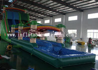China Commercial PVC Tarpaulin Green Jungle Inflatable Water Slide With Small Pool factory