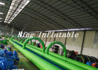 China 100m Long Double Lane Inflatable Slip N Slide Green Blue With Logo Printing factory