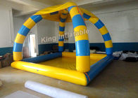 China Heat Sealed Inflatable Swimming Pools 5*4*5m Blue And Yellow With 800w Air Pump factory