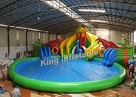 Dinosaur Amusement Park Slide Amazing Inflatable Water Park With Swimming Pool