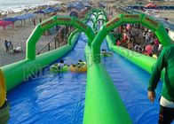 China Double Lane Inflatable Slip N Slide 100m Long For Kids N Adults factory