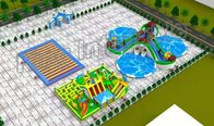 Blue And Green Heat Sealed Inflatable Floating Water Park For Children