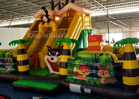 China Cheap PVC Inflatable Green Palm Tree Funny Animal Zoo Bouncer Castle For Kids factory