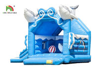 Customize Business 1.6ft Blue Dolphin Inflatable Jumping Castle For Kids Double - Triple Stitch