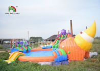 Commercial 3 In 1 Inflatable Water Parks With Swimming Pool Slide For Party