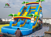 8*4m Rainbow Palm Tree Kids Water Slide With Cartoon Printing For Rent / Inflatable Wet Slide