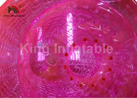 2.4m Diameter Adults Pink Inflatable Water Zorb Roller PVC Water Toy For Amusement
