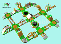 Green Inflatable Water Obstacle Course For Adult / Aqua Park Play Equipment