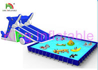 Blue / White Inflatable Water Parks Multi Fun In Slide , Pool And Water Toys