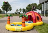 China Tropic PVC Water Park For Kids , Mini Pirate Bouncer With Swimming Pool factory
