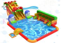 Large Inflatable Water Playground Sea Animal Theme Multi Play Slides