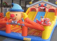 China Colorful Clown 0.55mm PVC Inflatable Commercial Bounce Houses With Slide For Kids factory