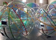 1.0mm PVC 2m Dia Inflatable Walk On Water Ball Colorful Stripe Ball For Rentals
