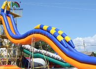 China Seahorse Plato PVC Inflatable Water Slide / Yellow Blue Giant Water Slide For Rentals factory