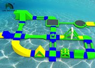 Custom 35x21m Inflatable Water Parks For Rental Green / Yellow / Blue Color