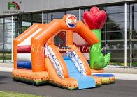 Orange Inflatable Bouncee House Combo Slide Bright Tulip PVC Backyard Playground