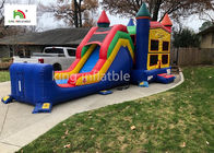 Colorful Single Lane Inflatable Bounce House With Slide Logo Printed