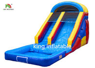 Blue 10 Steps Inflatable Water Slide 8*3M PVC Tarpaulin Double Stitching