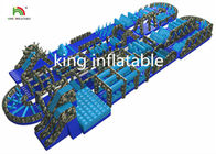 Blue Giant Inflatable Obstacle Course / PVC Outdoor Blow Up Ostacle Course For Adults