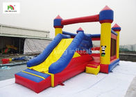 Waterproof Inflatable Jumping Castle With Slide Outside Yellow Rockey